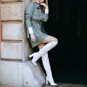 New zara white leather over the knee boots
